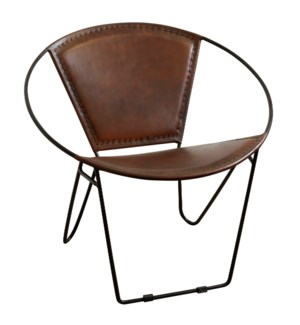 Hoop Armchair | Casual Chestnut Leather Bound & Metal Frame Accent Chair | Made in India