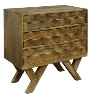 HONEY MANGO   Three Drawer Chest made of Solid Mango Wood   28in w X 30in ht X 15in d