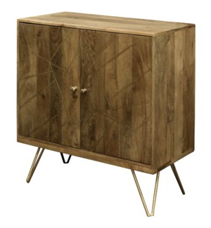 Sebastian | 32in X 16in X 34in | Two Door Cabinet Made of Solid Mango Wood in a Honey Brown Finish