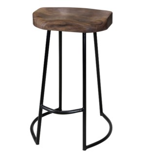 Gavin | 17in X 15in X 26in Sculpted Counter Stool | Solid Acacia Seat & Black Wrought Iron Base