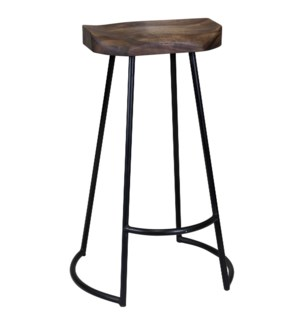 Gavin | 20in X 16in X 30in Sculpted Bar Stool | Solid Acacia Seat & Black Wrought Iron Base