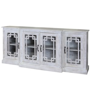 Bennett | 80in X 17in X 35in | Four Door Breakfront Credenza Made of Solid Mango Wood in a White Was
