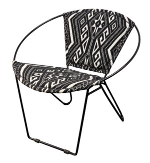 BLACK IRON HOOP CHAIR | 29in w X 30in ht X 28in d | Hoop Chair with Black and White Jakarta Fabric