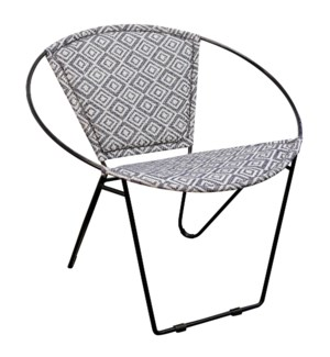 BLACK IRON HOOP CHAIR | 29in w X 30in ht X 28in d | Hoop Chair with Square Grey and White Jakarta Fa