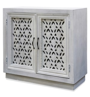 White Wash | 36in W. X 16in D. X 16in Ht. | Orante Carved Jali 2 Door Cabinet in White Wash and Meta