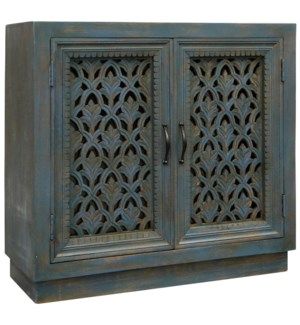 River Water Cabinet | 36in W. X 16in D. X 35in Ht. | Ornate Carved Jalli 2 Door Cabinet in Patina Bl