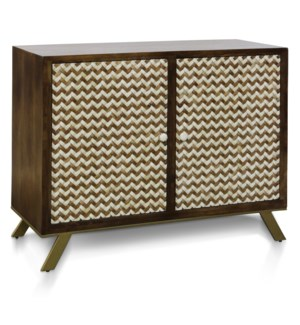 CARSON CABINET | 45in w. X 35in ht. X 18in d. | Solid Mango Wood Two Door Cabinet with Bone Inlay Ch