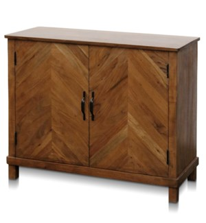 WESTON CHEST | 36in w. X 30in ht. X 16in d. | Solid Mango Wood Two Door Cabinet in a Bleached Wood F