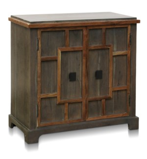 EVERETT CABINET | 34in w. X 33in ht. X 16in d. | Solid Acacia Wood Two Door Cabinet with One Interio