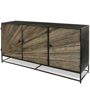 KAYDEN SIDE BOARD | 59in w. X 32in ht. X 15in d. | Solid Reclaimed Wood Cut and Joined to Resemble R