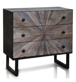 KAYDEN CHEST | 32in w. X 31in ht. X 15in d. | Solid Reclained Wood Cut and Joined to Resemble Rays f