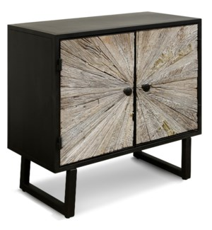 KAYDEN CABINET | 32in w. X 31in ht. X 15in d. | Solid Reclained Wood Cut and Joined to Resemble Rays