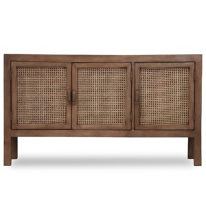 EASTON SIDEBOARD | 58in w. X 33in ht. X 16in d. | Solid Mango Wood Three Door Sideboard with Woven C