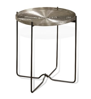 AXEL SIDE TABLE | 19in w. X 22in ht. X 19in d. | Metal Round Side Table with Nickel Plated Stainless
