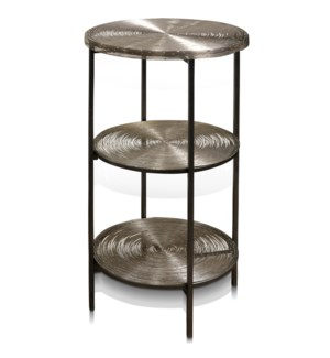 AXEL 3 TIER TABLE | 15in w. X 31in ht. X 15in d. | Three Tier Metal Round Side Table with Nickel Pla