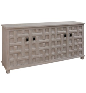 SAND BLASTED LIGHT GRAY | 35ht X 71w X 17d | 4 Door Sideboard with Lattice Carved Door Panels & Blac