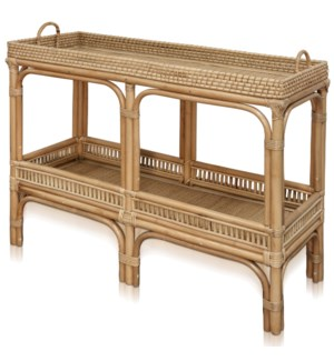 JACE CONSOLE | 40in w. X 29in ht. X 15in d. | Natural Rattan Console Table with Lombok Binding | Mad