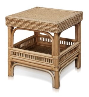 JACE SIDE TABLE | 19in w. X 18in ht. X 19in d. | Natural Rattan Side Table with Lombok Binding | Mad