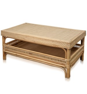 JACE COFFEE TABLE | 40in w. X 19in ht. X 23in d. | Natural Rattan Coffee or Cocktail Table with Lomb