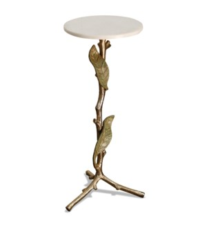PATINA ACCENT TABLE | 11in w. X 26in ht. X 11in d. | Tri-Pod Antique Gold Metal Branch Design Side T