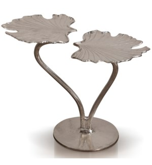 MONET SIDE TABLE | 27in w. X 28in ht. X 16in d. | Nickel Plated Metal Side Table with Two Level Leaf