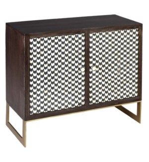 RYKER CABINET | 38in w. X 34in ht. X 16in d. | Solid Mango Wood Two Door Cabinet with Bone Inlay Hou