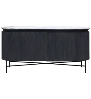 RACETRACK SIDEBOARD | 64in w X 31.5in ht X 18.65 d | Charcoal Grey Bead Board Wrapped Body with Gran