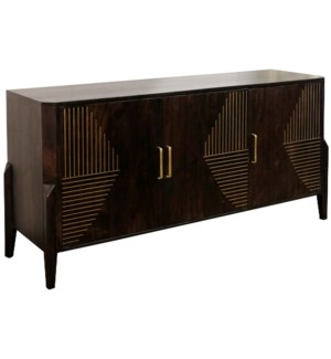 DARK STAIN SOLID MANGO | 31ht X 63w X 18d | 3 Door Sideboard with Brass Channel Inlay Finished Inter