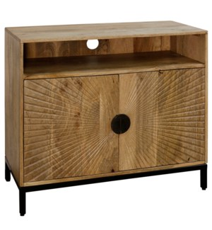 SOLID MANGO WOOD | 32ht X 36w X 16d | Two Door Entertainment Cabinet with Fan Cut Doors & Iron Base