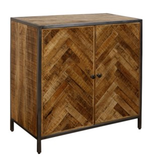 HERRINGBONE SOLID MANGO | 31ht X 31w X 16d | Two Door Cabinet Made of Chatter Cut with Gun Metal Pow