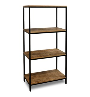 CHATTERCUT SOLID MANGO | 60ht X 28w X 16d | Four Tier Display Shelf in a Medium Natural Finish & Bla