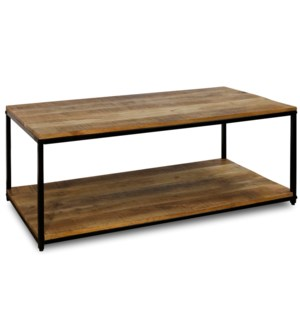 CHATTERCUT SOLID MANGO | 24ht X 47w X 18d | Rectangle Coffee Table with Lower Shelf in a Medium Natu