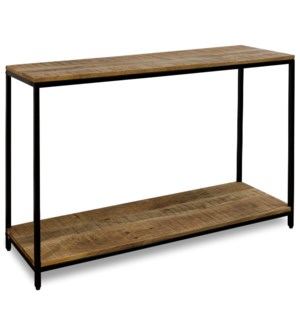 CHATTERCUT SOLID MANGO | 24ht X 47w X 18d | Console Table with Lower Shelf in a Medium Natural Finis