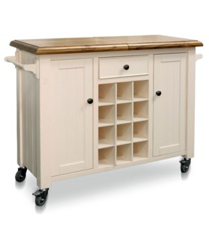 CASTER WINE CABINET | 47in w X 36in ht X 18in d | Natural Wood Sliding Top Serving Cabinet on Wheels