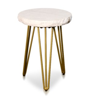 ROUND SIDE TABLE | 15.3in w X 20.5in ht X 15.3in d | Small White Marble Side Table with Brass Tripod