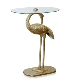 GOLD CRANE   Gold Metal Crane and Glass Accent Table   India   Assembly Required   15in w X 29in ht
