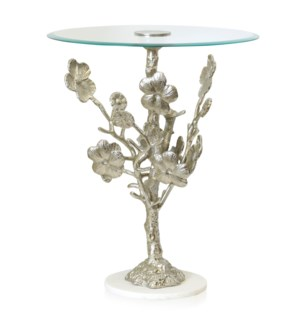 CLEAR GLASS & ALUMINUM   Blooming Flower Tree Accent Side Table   Aluminum Metal And Glass   Silver