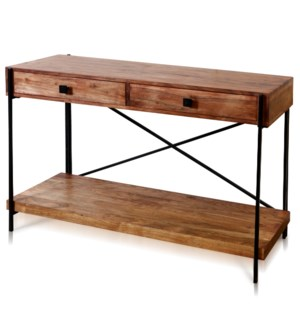 NATURAL WOOD & IRON   Two Drawer Console Table   Wood & Iron   Medium Wood Stain Finish   India   As