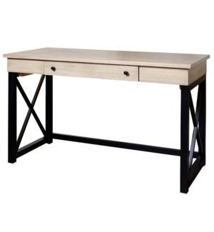 MINDI VINTAGE   Farmhouse Office Desk   Single Drawer   Natual Wood & Black Finish   Made of Mix Jav