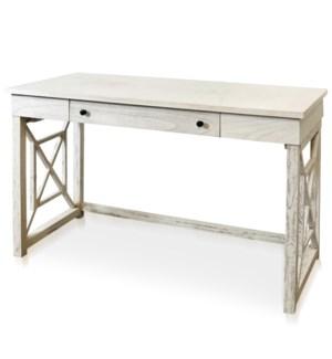HATTERAS   Farmhouse Office Desk   Single Drawer    White Grain Finish   Made of Mix Java Hardwood  
