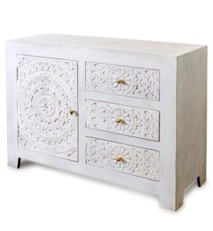 WHITE WASH   Carved Drawers and Door Face Sideboard Made of Mix Java Hardwood   Antique Brass Cast A