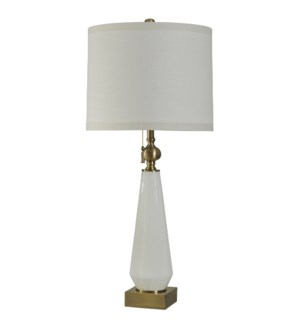 White Glass Table Lamp with Antique Gold Trim White Silk blend Drum Shade