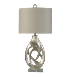 Champagne Silver | Transitional Crystal Accented Table Lamp | 150W | 3-Way | Hardback Shade