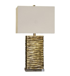 Jane Seymour - A Clear Base Supports This Creative Table Lamp With A Finish Of Interwoven Subtle Sha