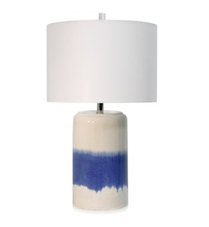 CERAMIC TABLE LAMP | 16in w X 27.8in ht X 16in d | Royal Blue and Cream Glazed Ceramic Base with Whi