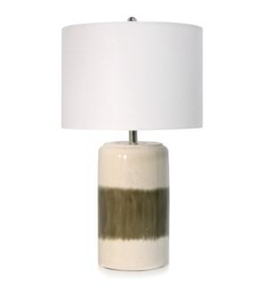 CERAMIC TABLE LAMP | 16in w X 27.8in ht X 16in d | Khaki and Cream Glazed Ceramic Base with White Li