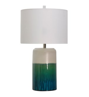 CERAMIC TABLE LAMP | 16in w X 27.8in ht X 16in d | Green Blue and White Glazed Ceramic Base with Whi