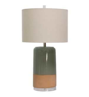 CERAMIC TABLE LAMP | 16in w X 27.8in ht X 16in d | Taupe and Peach Ceramic Base with White Linen Sha