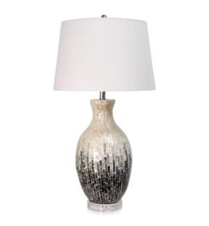CAPIZ SHELL CERAMIC TABLE LAMP | 17in w X 33in ht X 16in d | Capiz Shell on White Ceramic Table Lamp