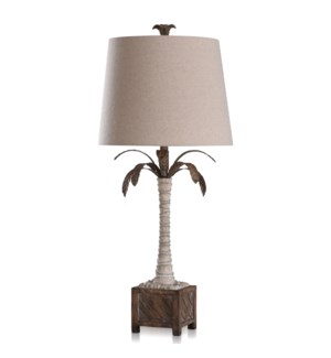 KIRKBY | 36in ht  X 16in w  X 16in d  | Coastal Palm Traditional Moulded Table Lamp | 150 Watts